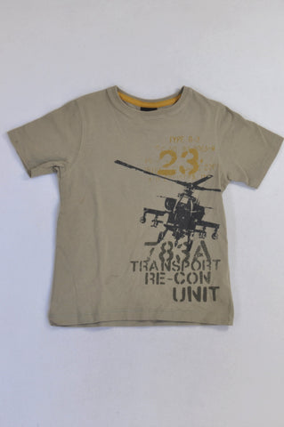 Next Beige Helicopter 23 T-shirt Boys 5-6 years