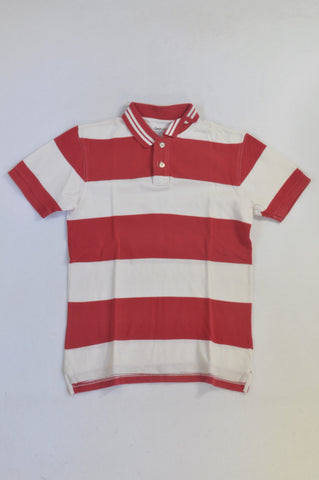 GAP Red & White Textured Golf T-shirt Boys 8-9 years