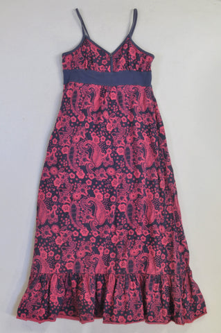 Blue & Pink Paisley Dress Girls 11-12 years