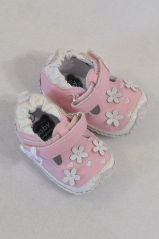 Ackermans Size 1 Pink Floral Bow Shoes Girls 3-6 months