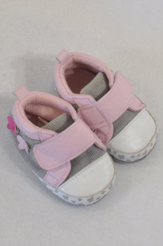 Ackermans Size 1 Pink & Grey Butterfluy Shoes Girls 3-6 months