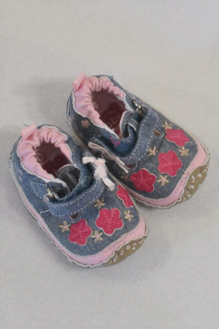 Ackermans Size 1 Pink & Chambray Flower Shoes Girls 3-6 months