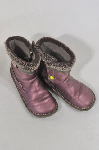 Woolworths Size 10 Faux Fur Matellic Pink Boots Girls 3-5 years