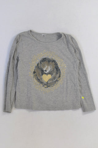 Woolworths Grey Gold Heart Bear T-shirt Girls 5-6 years