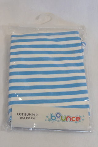 New ToysRus Blue & White Striped Cot Bumper Accessory Unisex N-B to 2 years