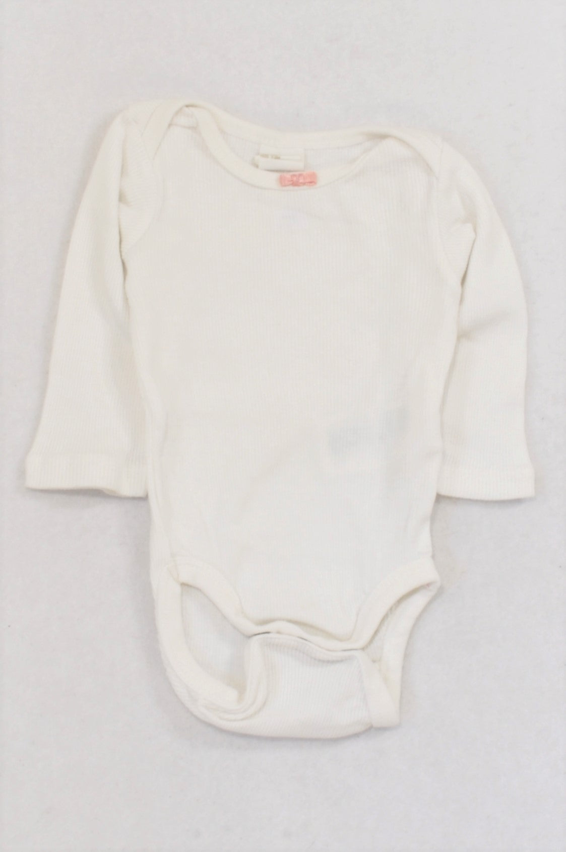 H&M White Ribbed Pink Bow Baby Grow Girls 1-2 months