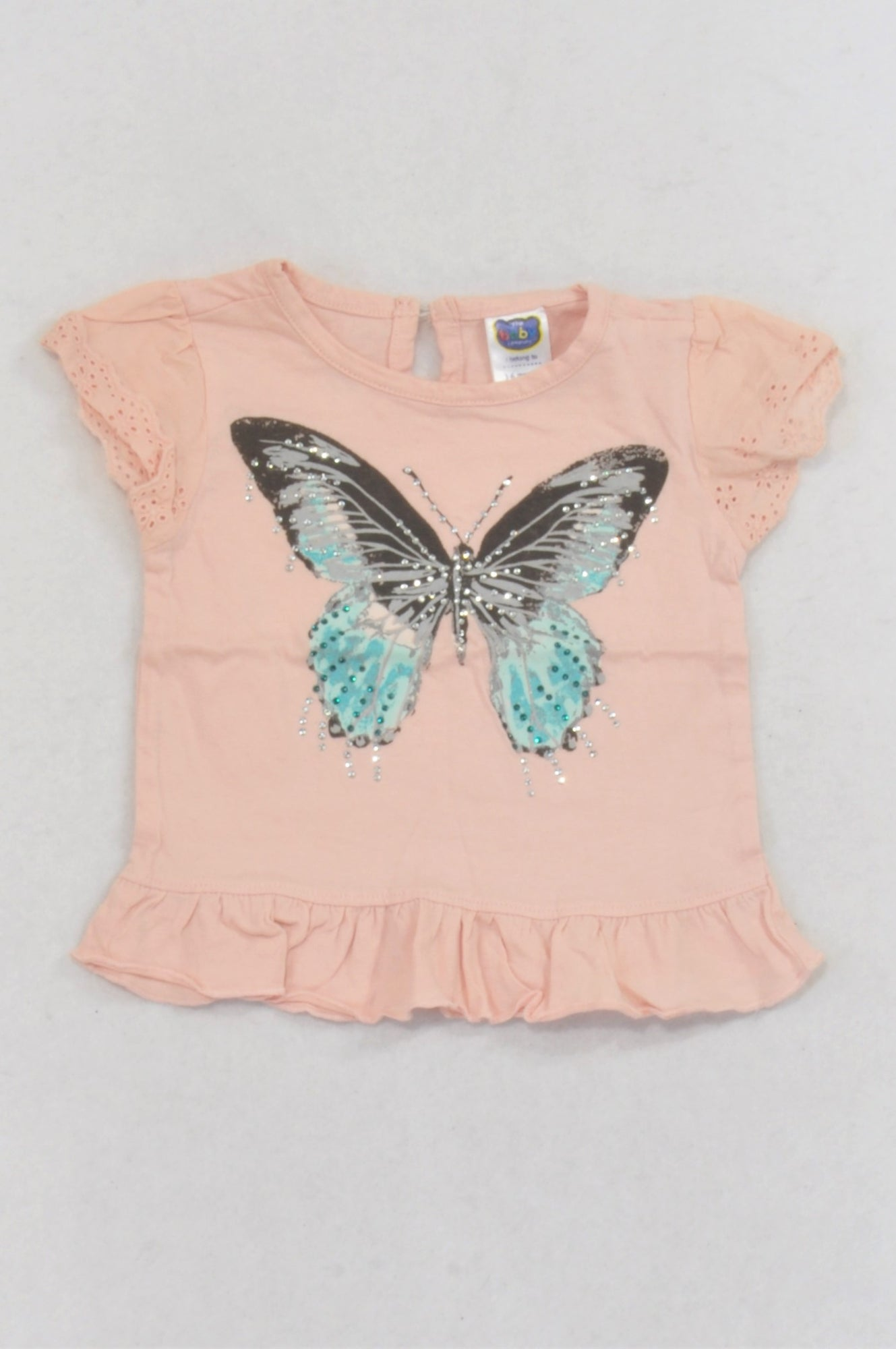 Ackermans Pink Butterfly Drill Rhinestone T-shirt Girls 3-6 months