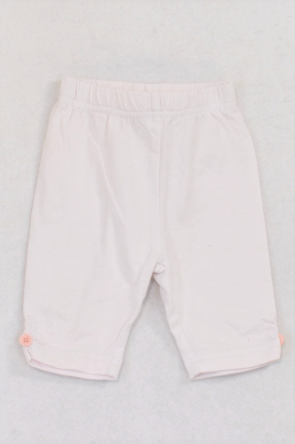 Ackermans White Pink Button Leggings Girls 3-6 months