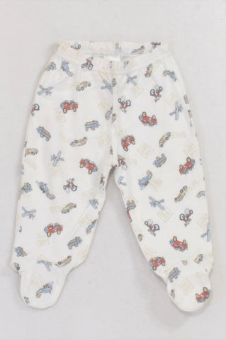 Edgars White Toy Shop Transport Footed Leggings Boys 3-6 months