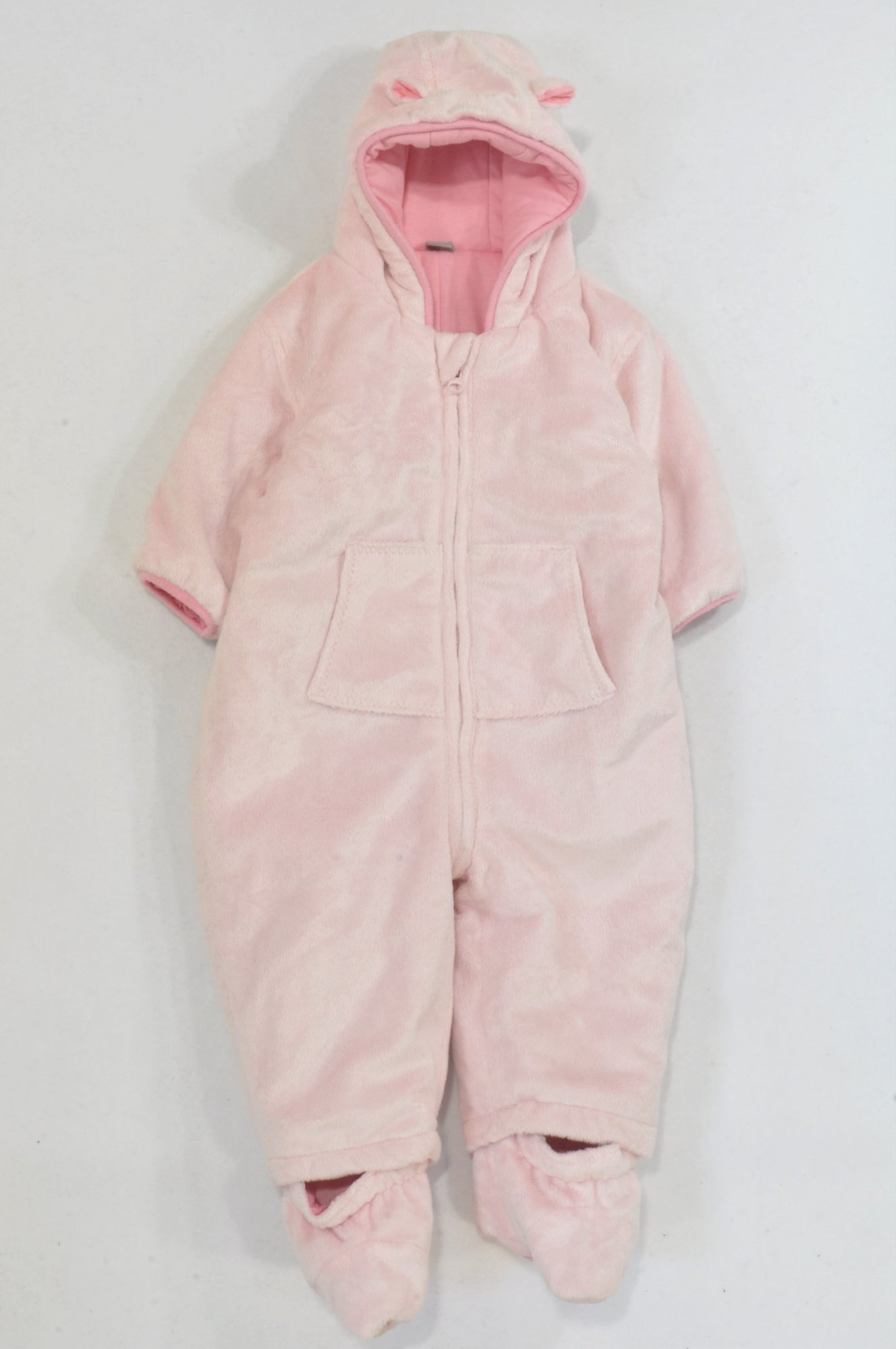 14daf0bdb Tu Pink Fleece Hooded Snow Suit Girls 9-12 months – Once More