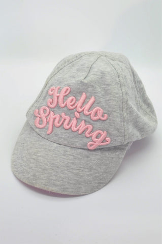 H&M Pink Embroidered Hello Spring Hat Girls 18-24 months