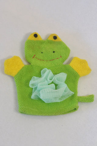 Green & Yellow Frog Wash Cloth Accessory Unisex All Ages
