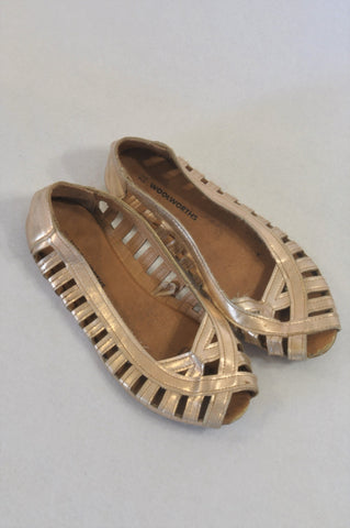 Woolworths Size 12 Bronze Peep Toe Sandals Girls 5-6 years
