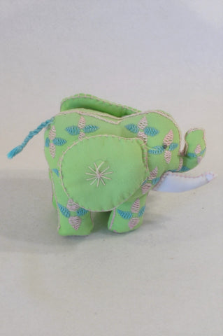 Green Embroidered Elepehant Toy Unisex All Ages