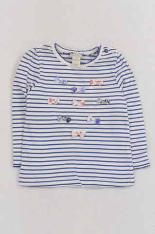 Monsoon Blue Striped Bow T-shirt Girls 12-18 months