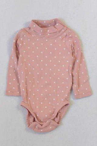 H&M Dusty Pink Dotty Baby Grow Girls 4-6 months