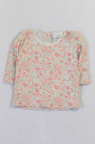 Next Pink Rose Floral T-shirt Girls 0-3 months