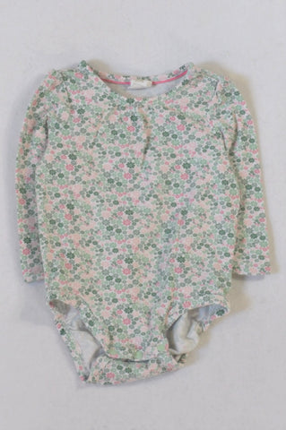 Next Green & Pink Floral Baby Grow Girls 4-6 months