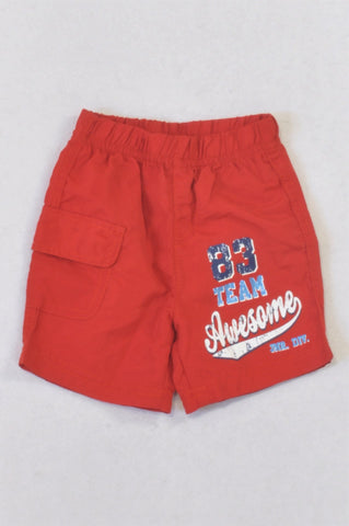 Ackermans Red Awesome Sport Shorts Boys 0-3 months