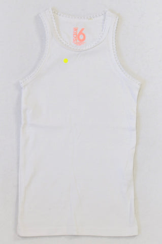 Cotton On White Scallop Trim Vest Top Girls 5-6 years