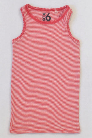 Cotton On Red & White Stripe Vest Top Girls 5-6 years