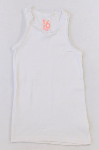 Cotton On White Crochet Trim Vest Top Girls 5-6 years