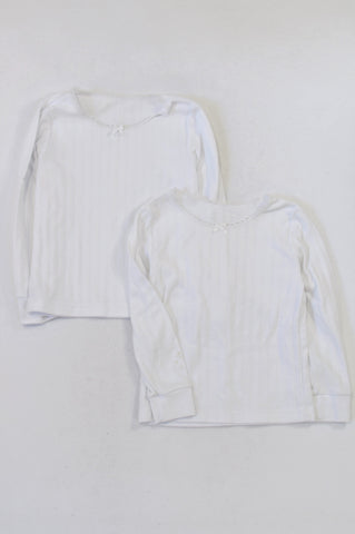Woolworths 2 Pack White Ribbed Spencer Tops Girls 6-7 years
