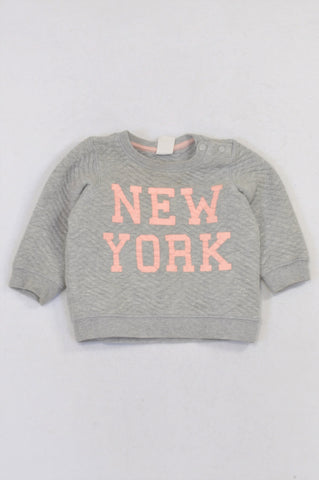 H&M Grey Quilted New York Top Girls 4-6 months