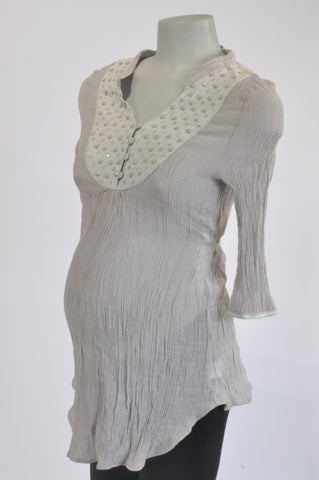 f7259b9778386 Excite Grey Ruffle Beaded Maternity Tunic Top Size 8
