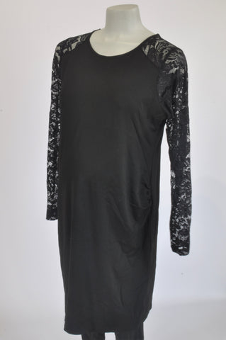 H&M Black Lace Arms Maternity Dress Size XL