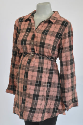 H&M Dusty Pink Plaid Tunic Maternity Top Size XL