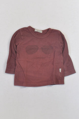 Sticky Fudge Maroon Sunglasses T-shirt Boys 6-12 months
