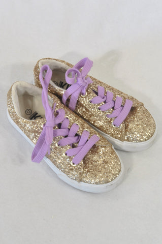 Cotton On Size 12 Gold Sequin Purple Lace Shoes Girls 6-7 years