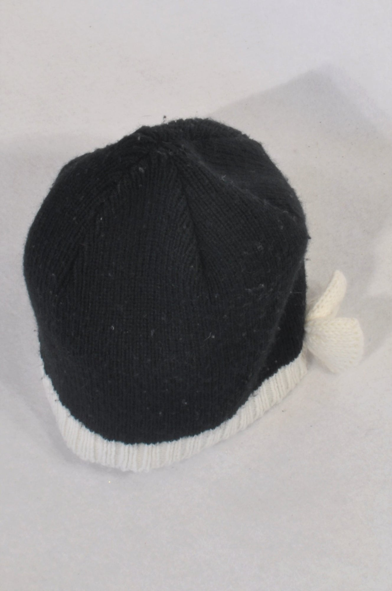 JK Baby Black & White Knit Bow Beanie Girls 4-6 years