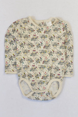 H&M Ivory Owl Baby Grow Girls 6-9 months