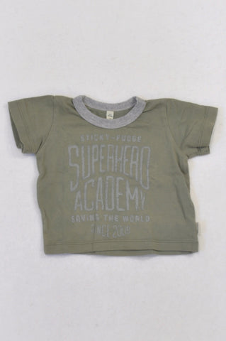 Sticky Fudge Olive & Grey Superhero T-shirt Boys 3-6 months