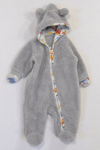 Woolworths Grey Fleece Hooded Bear Onesie Boys 0-3 months