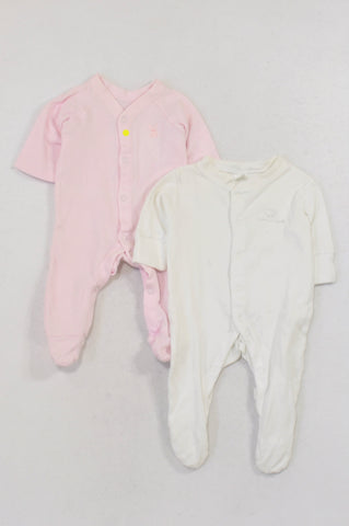 Next and F&F 2 Pack Pink & White Onesie Girls N-B