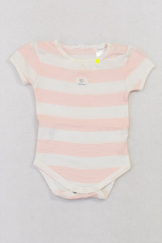 Country Road Pink Thin Striped Panel Baby Grow Girls 3-6 months