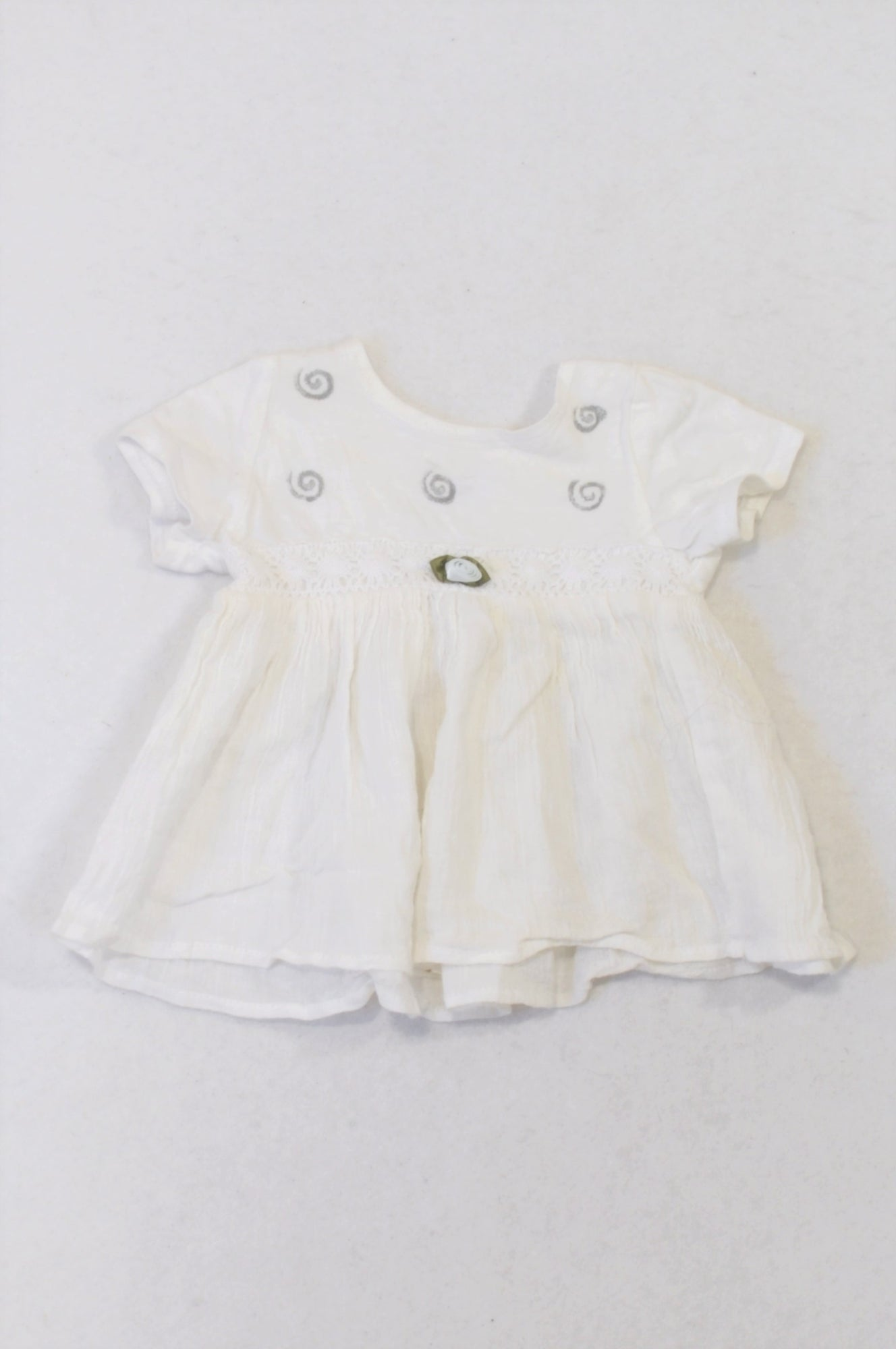 Smarty Pantz White Spiral Rose Dress Girls 0-3 months