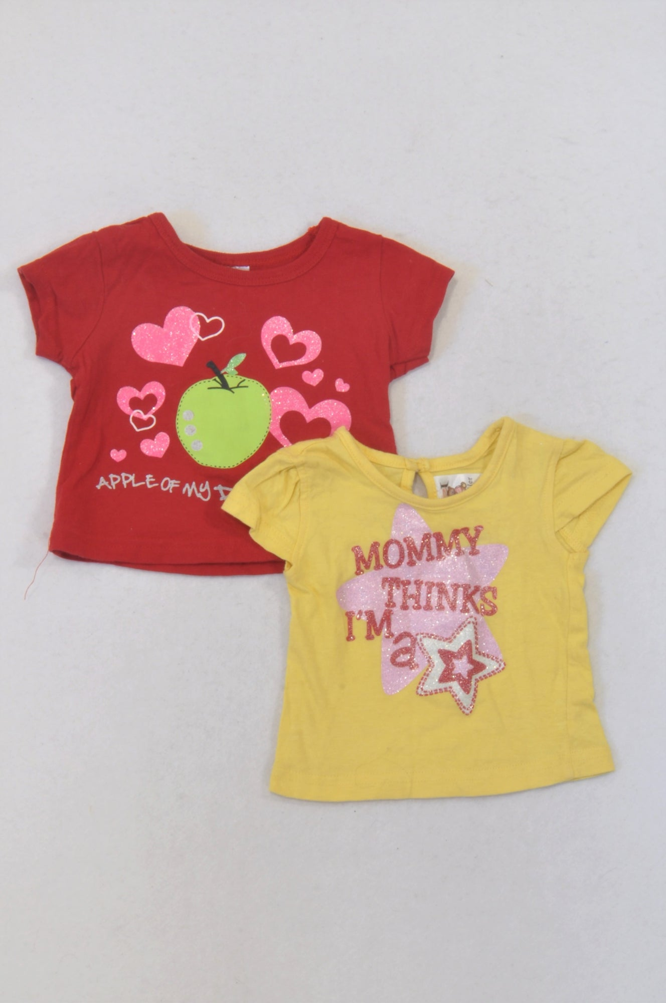 Jet 2 Pack Red & Yellow Star & Heart T-Shirts Girls 3-6 months