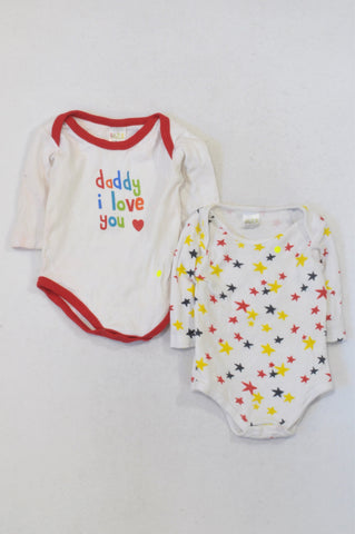 45e829804 Edgars 2 Pack Red Star & Daddy Babygrows Boys 3-6 months