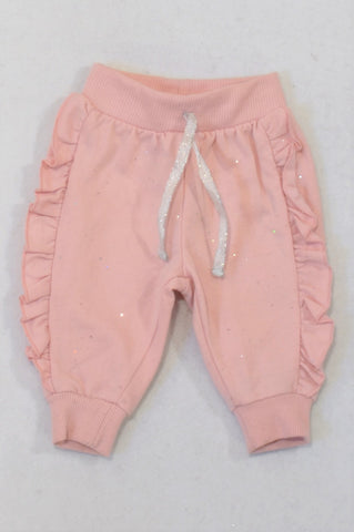 Ackermans Dusty Pink Glitter Detail Frill Trim Track Pants Girls 0-3 months