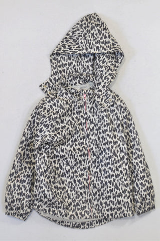 H&M Ivory & Black Animal Print Jacket Girls 5-6 years