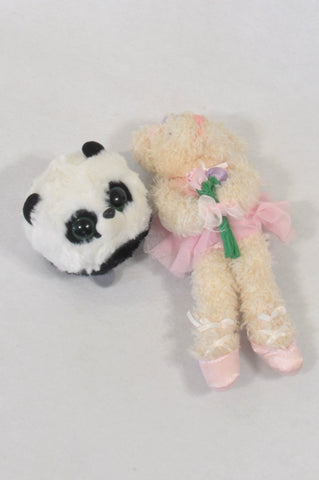 2 Pack Random Panda & Bear Teddy Toys  Girls All Ages