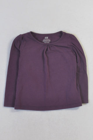 H&M Basic Purple Long Sleeved T-shirt Girls 2-4 years