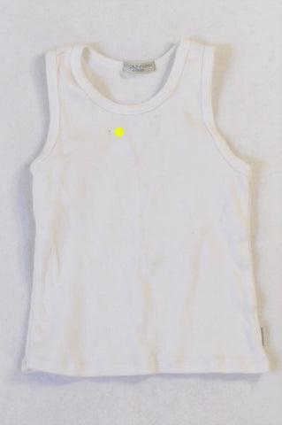 Sticky Fudge Basic White Ribbed Tank Top Unisex 4-5 years