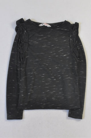 H&M Black Heathered Ruffle Top Girls 4-6 years