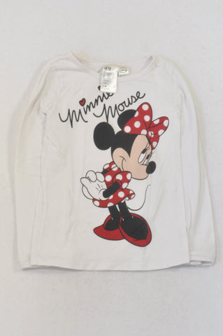 H&M White Minnie Mouse T-shirt Girls 4-6 months