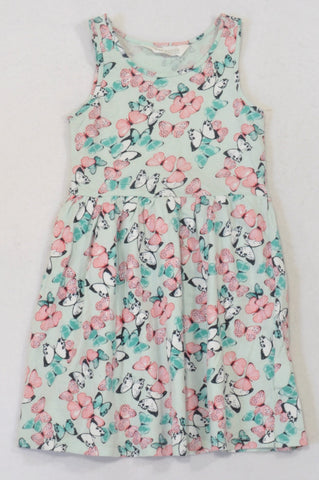 H&M Dusty Mint & Coral Butterfly Dress Girls 4-6 months